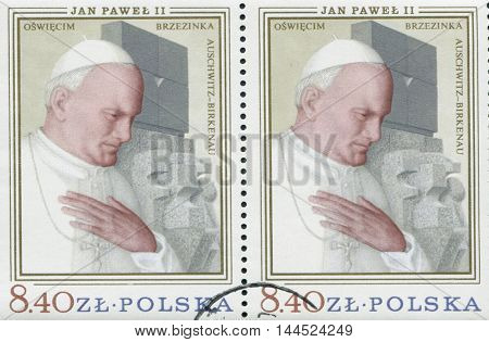 POLAND, circa 1982: postage stamp printed in Poland showing an image of John Paul II, circa 1982