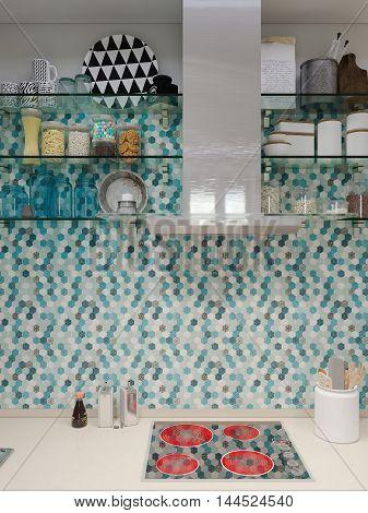 3D Rendering Design Interior Of Modern Kitchen