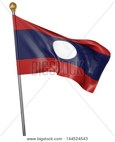 National flag for country of Laos isolated on white background, 3D rendering