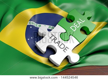 Brazil trade deals and international commerce concept, 3D rendering