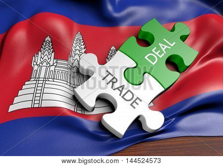 Cambodia trade deals and international commerce concept, 3D rendering