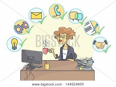 Successful business woman sitting at office table, drinking coffee and smiling confidently, multitasking business icons above her head.