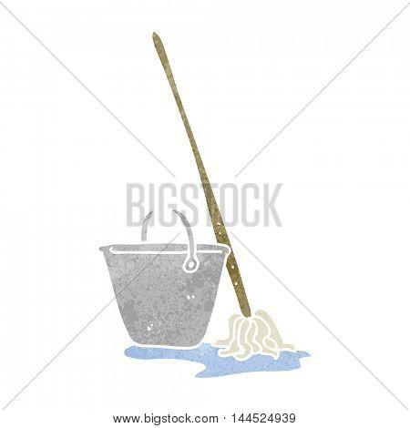 freehand retro cartoon mop and bucket