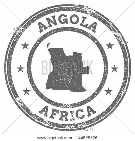 Angola Grunge Rubber Stamp Map And Text. Round Textured Country Stamp With Map Outline. Vector Illus