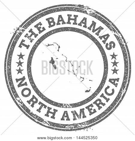 Bahamas Grunge Rubber Stamp Map And Text. Round Textured Country Stamp With Map Outline. Vector Illu
