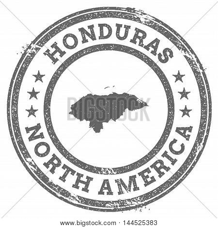 Honduras Grunge Rubber Stamp Map And Text. Round Textured Country Stamp With Map Outline. Vector Ill