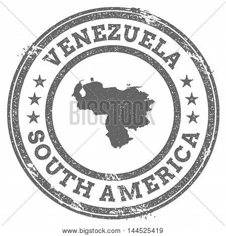 Venezuela, Bolivarian Republic Of Grunge Rubber Stamp Map And Text. Round Textured Country Stamp Wit
