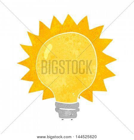 freehand retro cartoon light bulb