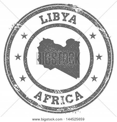 Libya Grunge Rubber Stamp Map And Text. Round Textured Country Stamp With Map Outline. Vector Illust