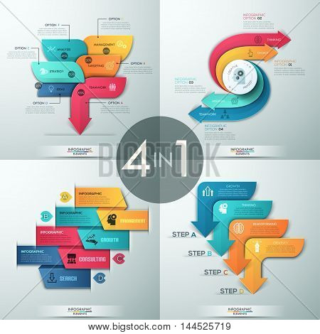 Set of 4 modern infographics options banner with arrows and icons. Vector. Can be used for web design and workflow layout