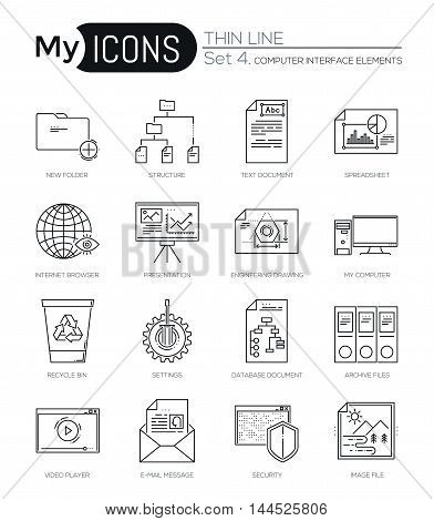 Modern thin line icons set of computer interface elements. Premium quality outline symbol collection. Simple mono linear pictogram pack. Stroke vector logo concept, web graphics