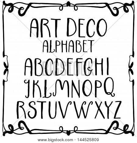 Hand-written decorative alphabet in Art Deco style. Uppercase letters vintage set.