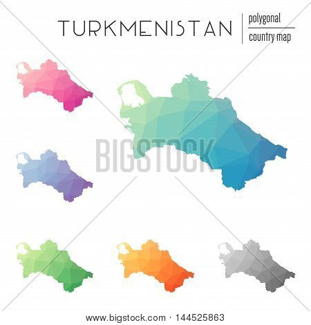 Set Of Vector Polygonal Turkmenistan Maps. Bright Gradient Map Of Country In Low Poly Style. Multico