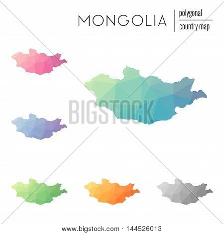 Set Of Vector Polygonal Mongolia Maps. Bright Gradient Map Of Country In Low Poly Style. Multicolore