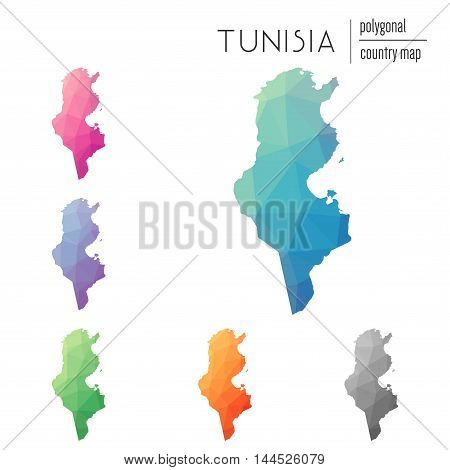 Set Of Vector Polygonal Tunisia Maps. Bright Gradient Map Of Country In Low Poly Style. Multicolored