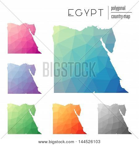 Set Of Vector Polygonal Egypt Maps. Bright Gradient Map Of Country In Low Poly Style. Multicolored E