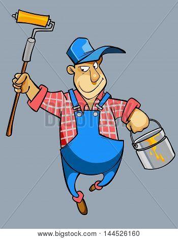 cartoon male house painter worker in uniform