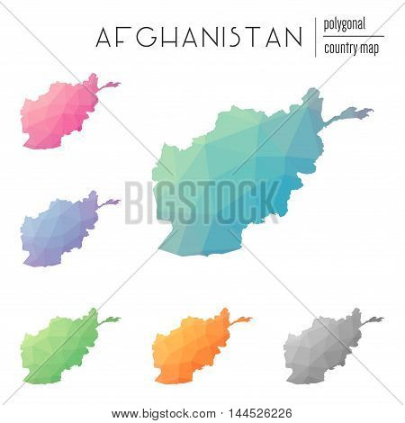 Set Of Vector Polygonal Afghanistan Maps. Bright Gradient Map Of Country In Low Poly Style. Multicol