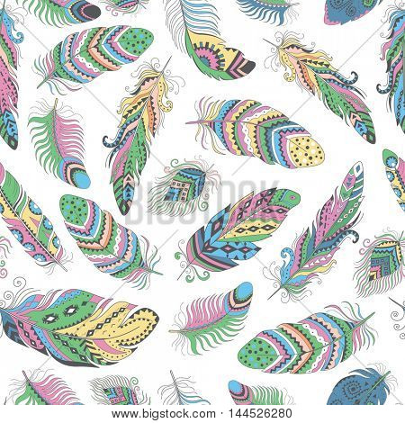 Feathers Boho Seamless Pattern. Tribal Ethnic Background Texture. Clothing Design, Wallpaper, Wrapping.  Indian Ornament.