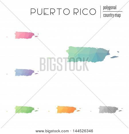 Set Of Vector Polygonal Puerto Rico Maps. Bright Gradient Map Of Country In Low Poly Style. Multicol