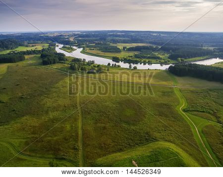 Aerial top view of Kernave, historical capital city of Lithuania, in the sunset