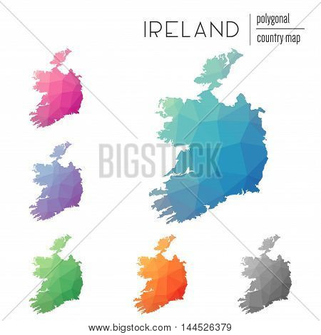 Set Of Vector Polygonal Ireland Maps. Bright Gradient Map Of Country In Low Poly Style. Multicolored