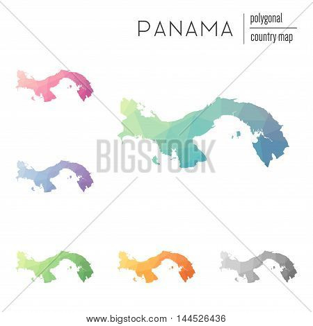 Set Of Vector Polygonal Panama Maps. Bright Gradient Map Of Country In Low Poly Style. Multicolored