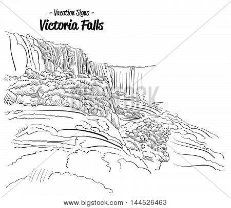 Victoria Falls Zimbabwe Landmark Sketch