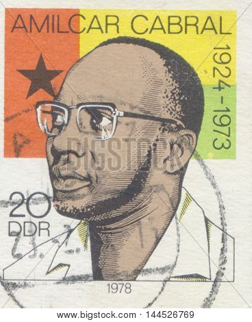 GERMANY - CIRCA 1978: A stamp printed in Cuba shows portrait of Amilcar Cabral Guinea Bissau freedom fighter , circa 1978