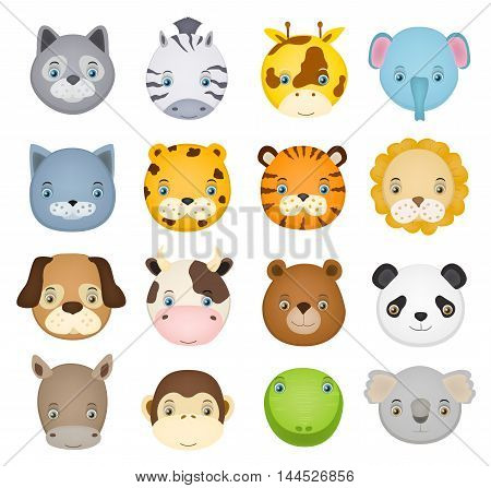 set of cartoon cute animal faces on white. vector illustration