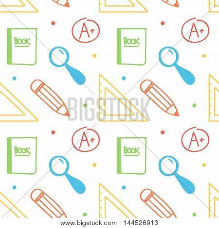 Seamless pattern background with different items for school, education and business.