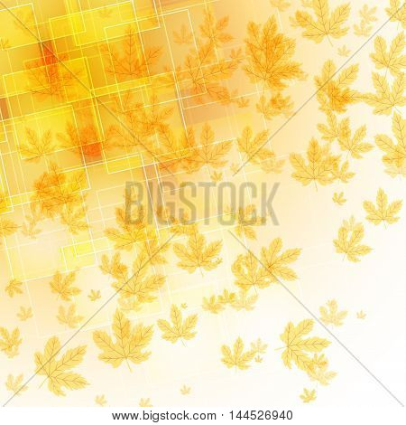 abstract background with transparent shapes and falling autumn maple leaves. vector illustration