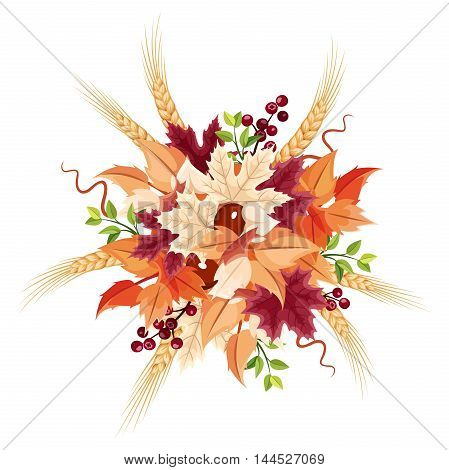 Vector colorful autumn leaves bouquet isolated on a white background.