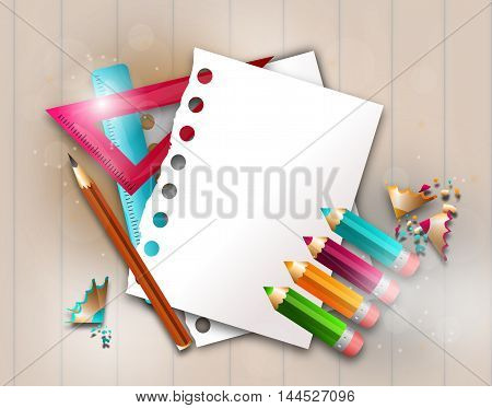 Illustration of school background with blank papers sheets and pencils