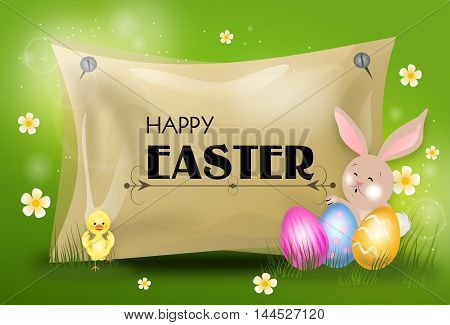 Happy easter greeting card with easter eggs and bunny
