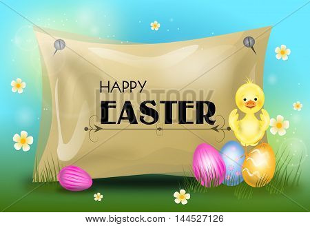 Happy easter greeting card with easter eggs and small chicken