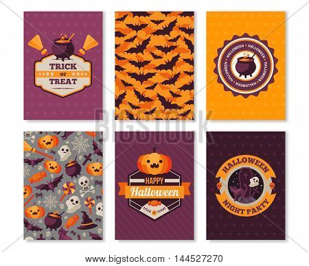 Set of Halloween Vertical Banners. Vector Illustration. Labels, Patterns and Flat Holiday Symbols. Typographic Template for your Text.