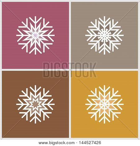 Four minimalistic flat white snowflakes. Pink yellow grey brown background.