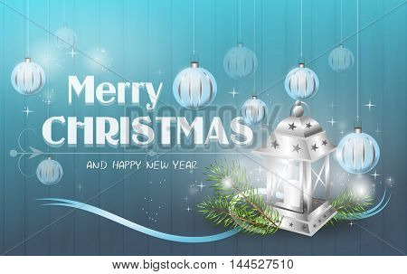 Beautiful illustration of merry christmas greeting card with lantern decoration