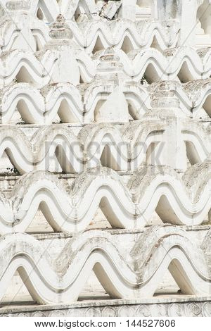 Detail of the beautiful white Hsinbyume Pagoda in Mingun, Western bank of Irrawaddy river, Myanmar