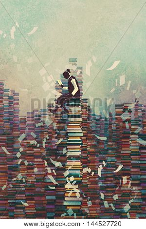 man reading book while sitting on pile of booksknowledge conceptillustration painting