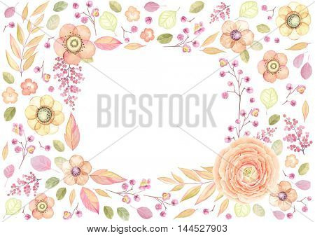 Rectangle frame with window of flowers and leaves, vector floral illustration in vintage style with flower Ranunculus orange color.