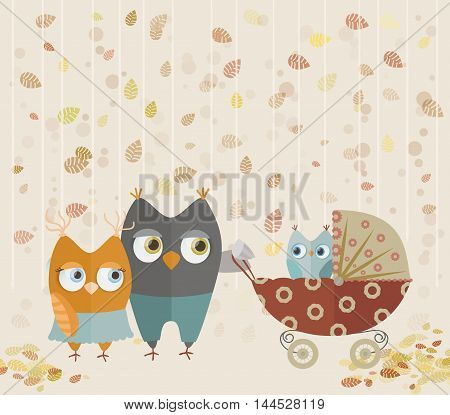 cute cartoon owls family walking with baby stroller on autumn leaves background. vector illustration