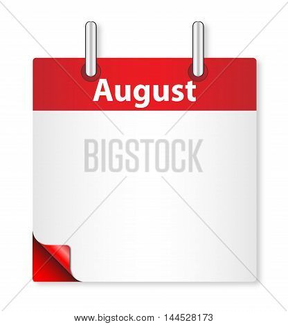 A calender date offering a blank August page over white
