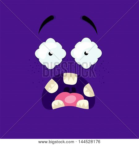 Cartoon face screaming in terror on a violet background.