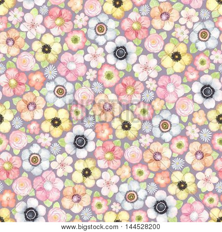 Seamless pattern with meadow flowers, colorful vector illustration.