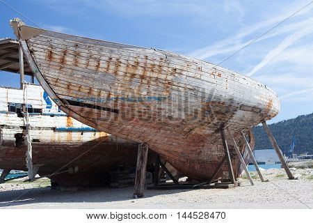 Remains of the old wooden ship, Montenegro