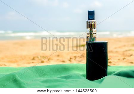 ecig summer beach electronic cigarette vapers background
