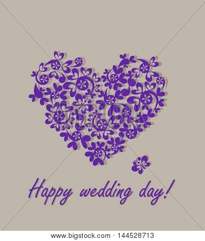 Happy wedding day! Greeting card with paper heart