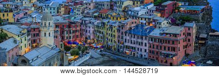 Amazing view in Vernazza one of the five villages of the Cinque Terre on Italy mediterranean coast.